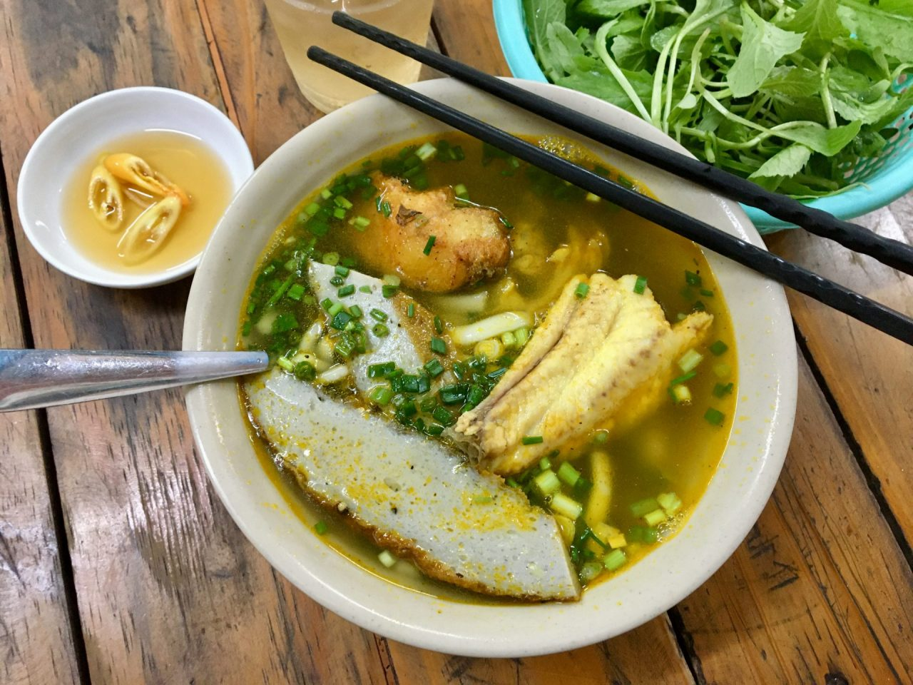 Bánh Canh Chả Cá Hấp and Chiên - Thick Rice Noodle Soup with Steamed and Fried Fish + Fish Cake
