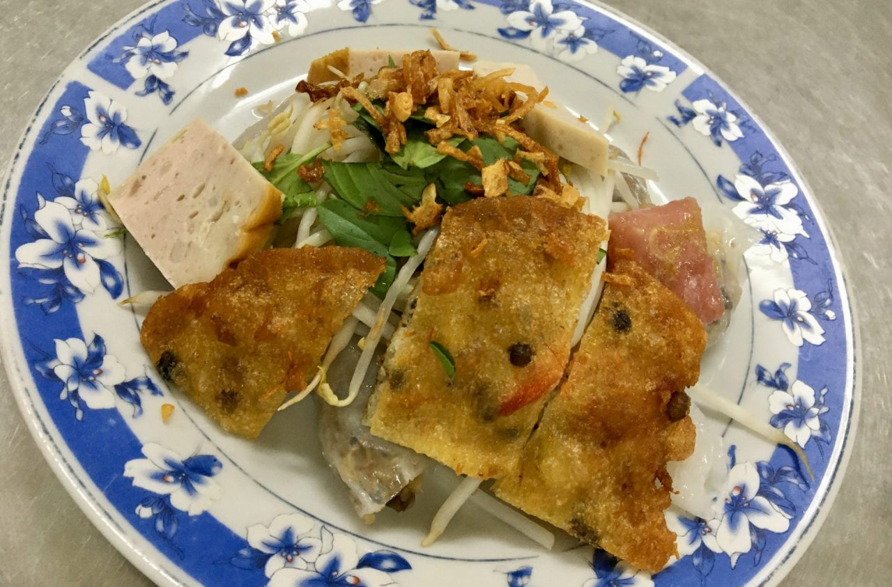 Bánh Cuốn with Banh Tom and Nem Chua - Crisp Shrimp Pastry and Vietnamese Fermented Sour Pork Roll and