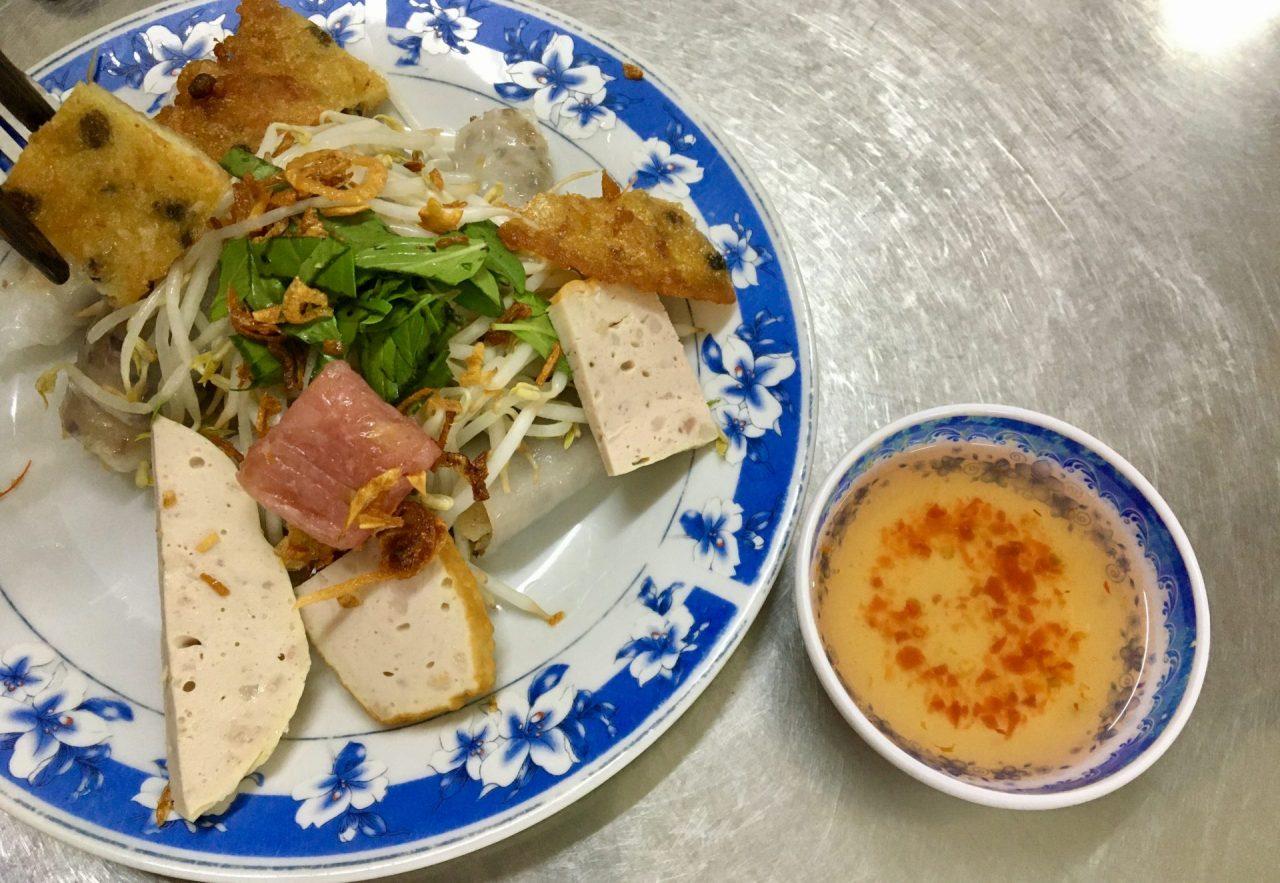 Bánh Cuốn with Banh Tom and Nem Chua - Crisp Shrimp Pastry and Vietnamese Fermented Sour Pork Roll