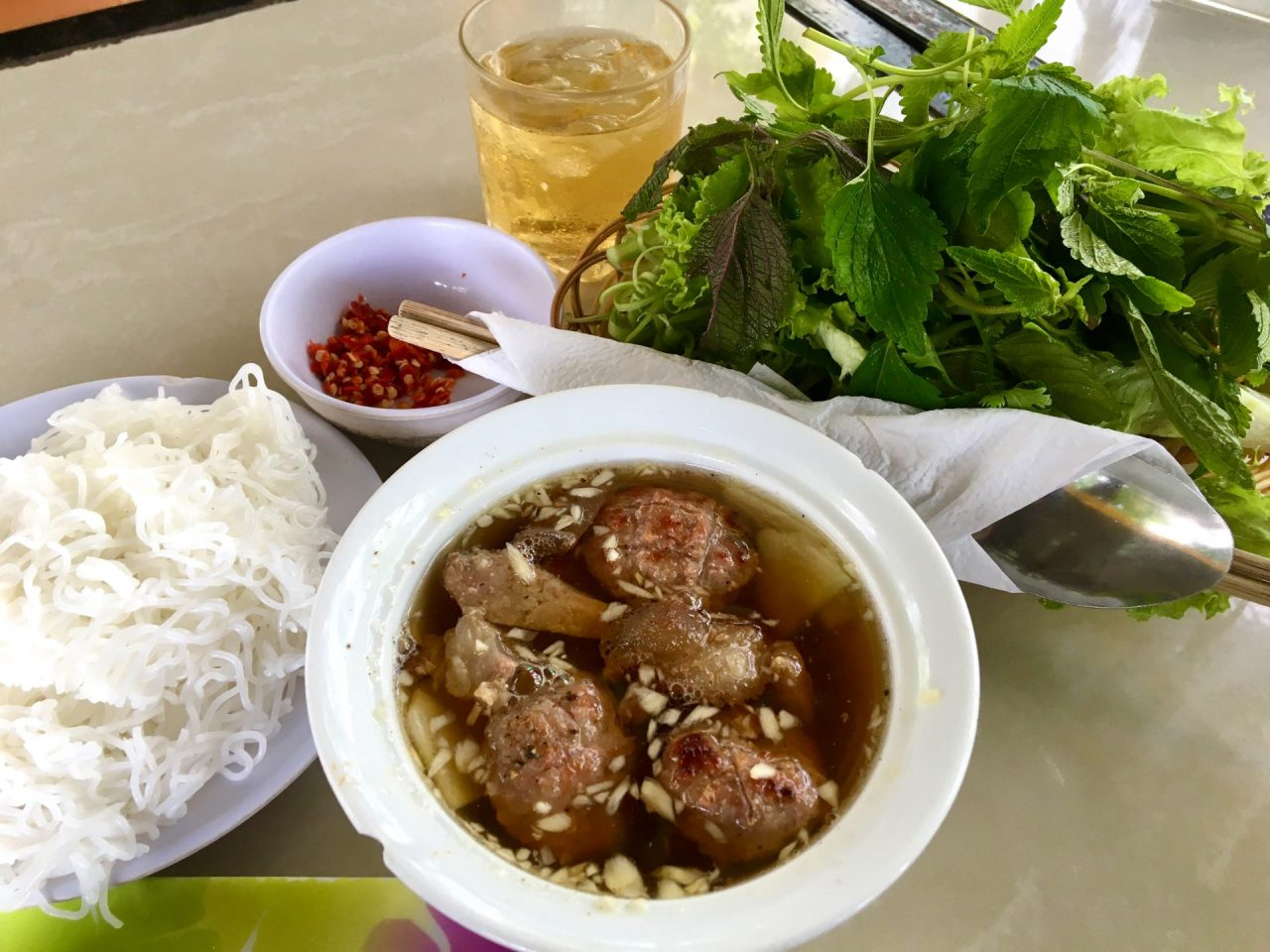 Bún Chả Ha Noi - Hanoi-Style Vermicelli Noodles with Grilled Pork and Herbs