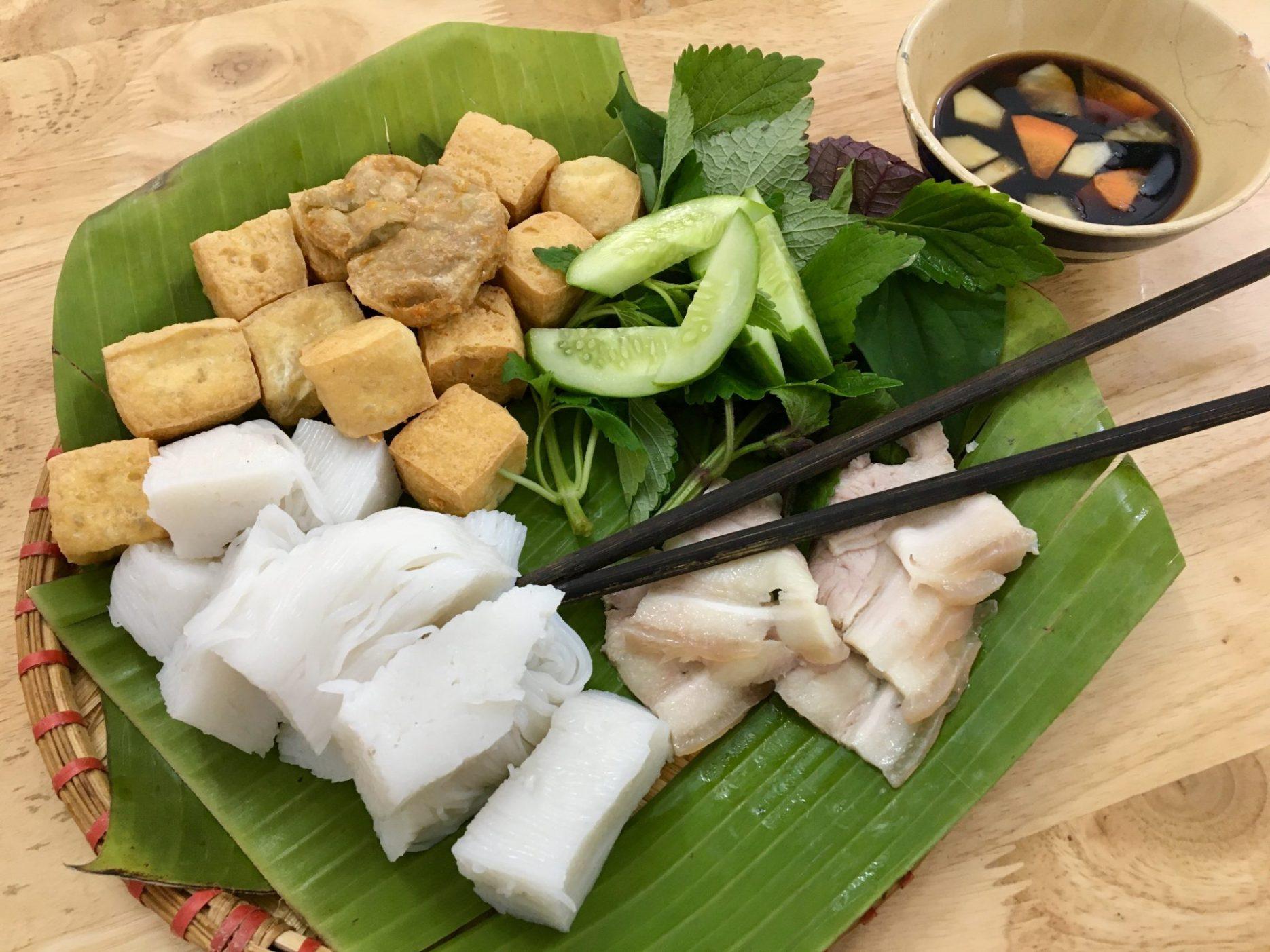 Bún Đậu Mắm Tôm - Rice Vermicelli Noodle with Fried Tofu and Shrimp Paste