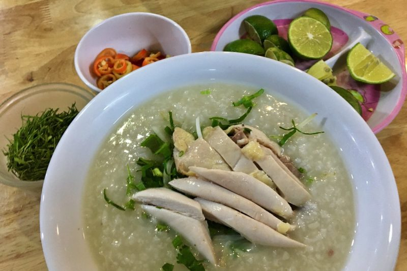 Cháo Gà - Vietnamese Rice Porridge Lime Chilli and Finely Chopped Lime Leaves