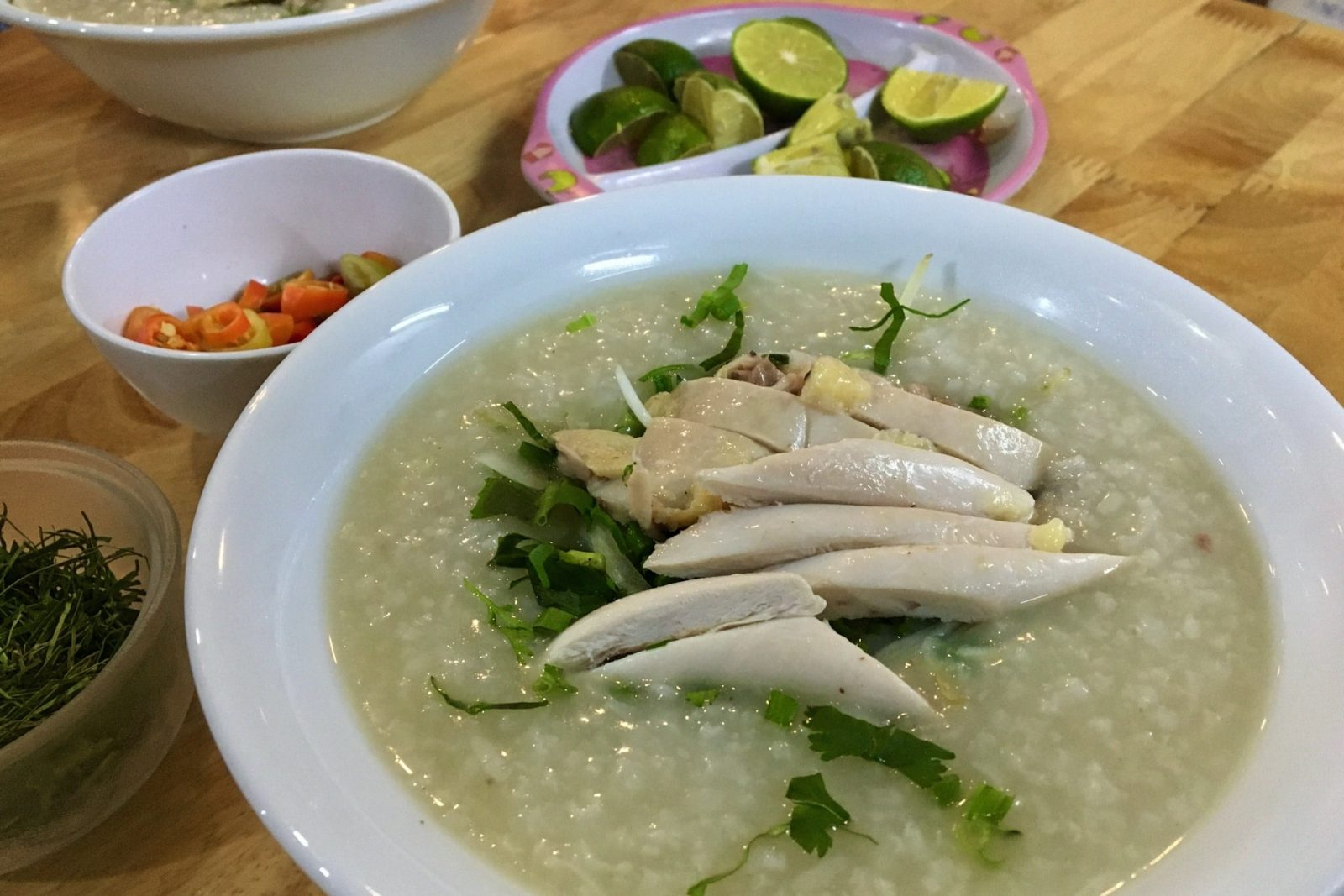 Vietnamese Rice Porridge (Congee) with Chicken called Cháo Gà