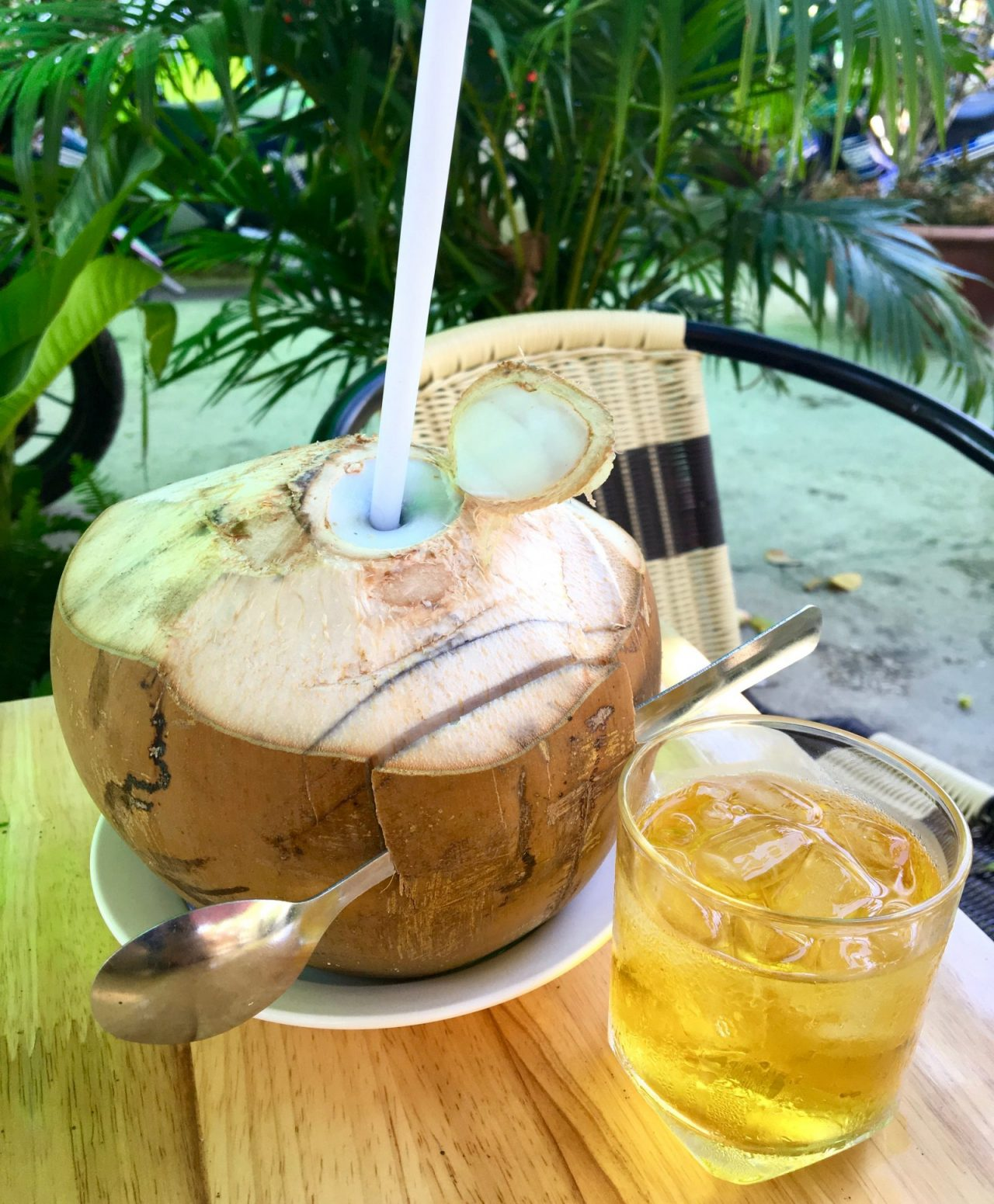 Vietnamese Coconut Water Juice with Vietnamese Tea Cup